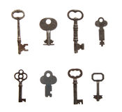 Skeleton Keys. An interesting selection of skeleton keys on white Stock Photography