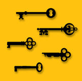 Skeleton Keys. A collection of five antique skeleton keys. The real keys were scanned and re-drawn in Illustrator. The keys, background color and shadows are on Stock Image