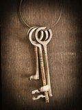 Skeleton keys. Vintage skeleton keys hanging on the wall royalty free stock photography