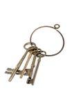 Skeleton Keys. Four brass skeleton keys on a keyring royalty free stock photo