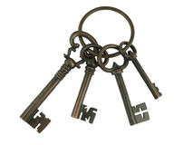 Skeleton keys on a ring stock image
