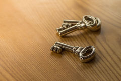 Skeleton keys to unlock all doors. Blurred and focused shot at royalty free stock photo