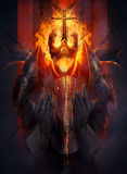 Skeleton knight. Skeleton fire head knight praying the cross illustration Stock Photo