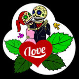 Skeleton love. Forever Together - male and female skeletons merged into the arms Royalty Free Stock Images