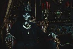 Skeleton man in a castle stock photos