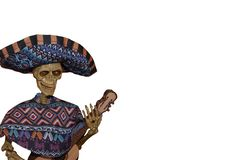 Skeleton Mariachi player with poncho and hat and guitar - Halloween decoration - on side of blank white image - room for copy stock photo
