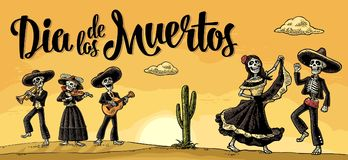 Skeleton Mexican costumes dance and play the guitar, violin, trumpet. Royalty Free Stock Image