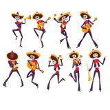 Skeleton in Mexican national costumes dancing and playing guitar, trumpet, maraca, Dia de Muertos, Day of the Dead. Vector Illustrations isolated on a white vector illustration
