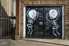 Skeleton mural street art in London Stock Image