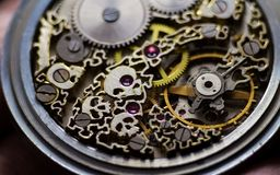 Free Skeleton Of Vintage Handmade Antique Mechanical Pocket Watches, Clockwork Old Mechanical Watch, High Resolution And Detail, Winter Stock Photo - 139662180