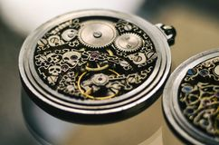 Free Skeleton Of Vintage Handmade Antique Mechanical Pocket Watches, Clockwork Old Mechanical Watch, High Resolution And Detail, Winter Stock Photography - 142188962