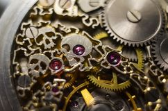 Free Skeleton Of Vintage Handmade Antique Mechanical Pocket Watches, Clockwork Old Mechanical Watch, High Resolution And Detail, Winter Royalty Free Stock Photography - 142188987