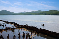 Skeleton of an old ship lies on the shore of the lagoon. Stock Photography