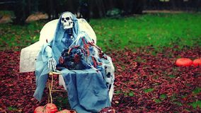 Skeleton in the Park. Skeleton Sitting on a Chair in the Rain, Fall Leaves on the Ground. Halloween Background - HD Video stock video