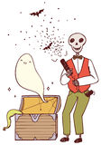 Skeleton with party poppers and a ghost from the chest.  Royalty Free Stock Photo