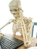 Skeleton Paying Bills. A Skeleton at a laptop paying bills or doing taxes Stock Image