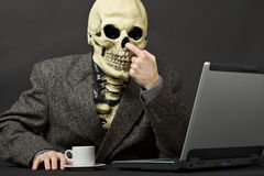The skeleton picks in a nose Stock Image