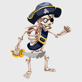 Skeleton pirate with belt and sharp sword Royalty Free Stock Images