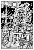 Skeleton Pirate on the Flying Dutchman deck Royalty Free Stock Photo