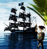 Skeleton Pirate and Ghost Ship. A skeleton pirate awaits the return of his ghost ship - 3D render Stock Photos