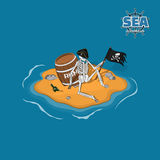 Skeleton of pirate in hat on a deserted island. Dead man with a barrel of rum in isometric style. Mobile game. Vector illustration stock illustration