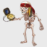 Skeleton pirate holding ancient compass Royalty Free Stock Photos
