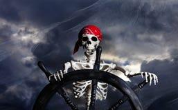 Skeleton Pirate Steering Ship Wheel Royalty Free Stock Photo