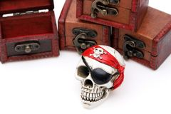 Skeleton pirate with treasure chest. On white background royalty free stock photo