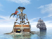 Skeleton pirate treasure - 3D render. Skeleton pirate sitting on a treasure chest with its parrot by day with ship behind on the ocean - 3D render Stock Photos