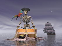 Skeleton pirate treasure - 3D render Royalty Free Stock Images