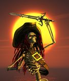 Skeleton Pirate in Tropical Sun. A skeleton pirate is engaged in a fierce battle under a hot tropical sun - 3D render Stock Images