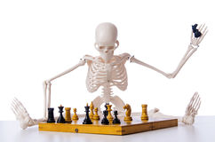 The skeleton playing chess game on white Stock Image