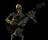 Skeleton Playing Guitar. 3D render of a massive skeleton playing the guitar Royalty Free Stock Images