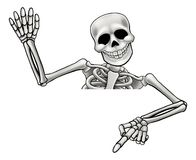 Skeleton Pointing and Waving. A skeleton cartoon character peeping over a sign waving and pointing royalty free illustration