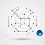 The skeleton of a polygon with points at the vertices. Abstract geometric background scientific theme. Stock Photography