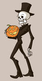Skeleton with pumpkin Royalty Free Stock Photography