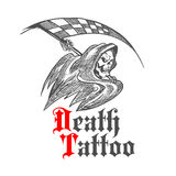 Skeleton with racing flag for tattoo design Royalty Free Stock Photo