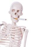 Skeleton rauchende Zigarette Stockbild