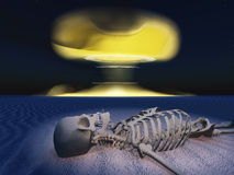 Skeleton in ravaged land. And nuclear detonation Royalty Free Stock Images