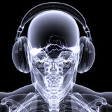Skeleton X-Ray - DJ 3. Skeleton X-ray DJ: An X-ray of a male skeleton DJ wearing headphones with electric activity in his head Royalty Free Stock Photos
