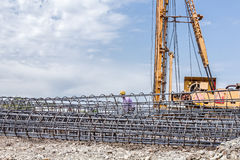 Skeleton of reinforcing steel, armature, bar at construction sit Royalty Free Stock Images