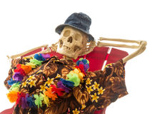 Skeleton Relaxing On Vacation Royalty Free Stock Images
