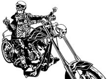 Skeleton Rider On Chopper. Black and White Hand Drawn Illustration, Vector Royalty Free Stock Image