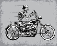Skeleton Riding Motorcycle Vector Illustration Stock Image