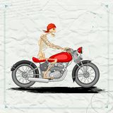 Skeleton riding vintage Motorcycle Royalty Free Stock Photos