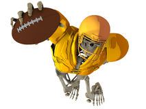 The skeleton in the role of the player in American football. The skeleton in golden armor in the role of the player in American football with ball on white Royalty Free Stock Images