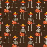 Skeleton in sambrero guitar seamless pattern. Skull Mexican repeating texture.Day of the Dead or the Halloween Endless. Background. Vector illustration Royalty Free Stock Photography