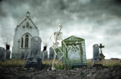 Skeleton on scary old cemetery. Halloween concept. 3d rendering Royalty Free Stock Photo