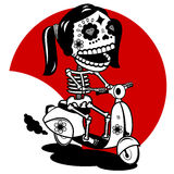 Skeleton Scootergirl. Cheerful girl-skeleton riding a motor scooter stock illustration