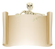 Skeleton Scroll Sign Stock Photo